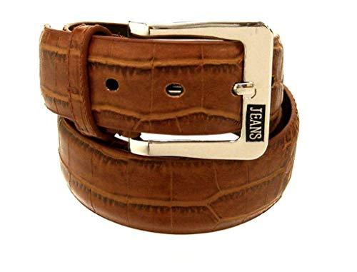 RDumani Men's Belts Top Grain and Split Leather Belts Cognac Croco Embossed 35mm Up to 44