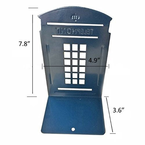 Bookends blue merrynine 1 pair heavy metal non skid sturdy telephone booth decorative gift for - Sturdy bookends ...