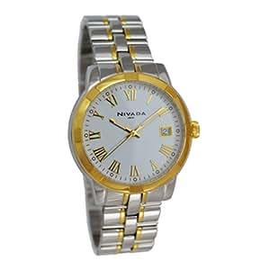 Nivada NP2840MBICBR Reloj Análogo para Hombre, Rectangular, color Blanco y Plata