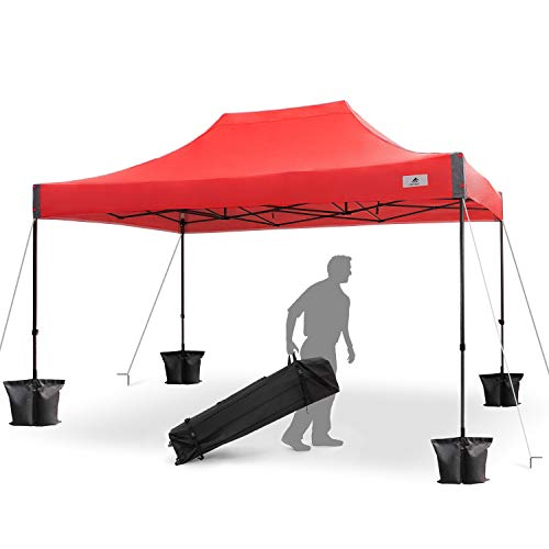 FinFree 10×15 FT Pop Up Canopy Tent Commercial Instant Canopy with Roller Bag,6 Walls and Weight Bags, Red