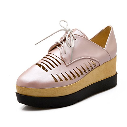 AgooLar Damen Rein PU Hoher Absatz Spitz Zehe Schnüren Pumps Schuhe Pink