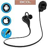 Bluetooth Headphones, BICOL Wireless Sports Earphones Headsets for Running Gym with Mic (Bluetooth 4.1, aptX, CVC 6.0 Noise Cancelling, Sweatproof)(Black)