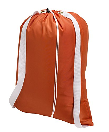 Backpack Laundry Bag, Orange - 22 X 28 - Two Shoulder Straps for Easy Backpack Carrying and Drawstring Closure. These Nylon Laundry Bags Come in a Variety of Attractive Colors and Patterns.