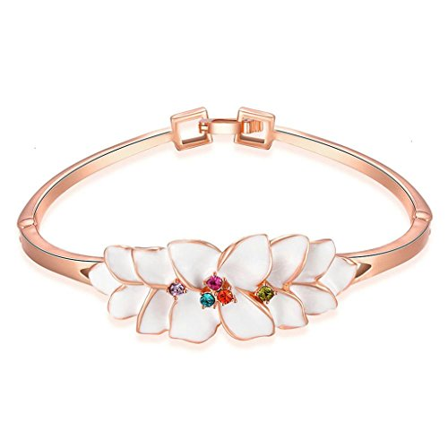 Gold Plated Bangle, Women's Charm Bangle Paint Flowers White - Of Shades Online Watch Ray