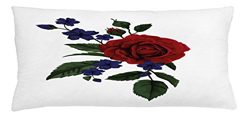 Rose Throw Pillow Cushion Cover by Ambesonne, Rosebud with Little Blossoms Leaves Love and Passion Theme Artful, Decorative Square Accent Pillow Case, 36 X 16 Inches, Ruby Violet Blue Hunter Green (Passion Ruby Cushions)