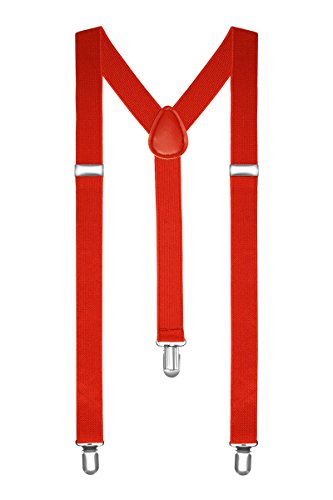 Autiga® Hosenträger Herren Damen Hosen Träger Y Form Style Clips Schmal Neon Bunt Farbig rot