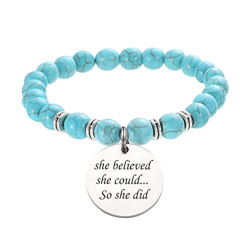 Turquoise Natural Stone Beaded Inspirational Bracelet Healing Power Yoga Bracelet Stainless Steel Charm Engraved Message She Believed She Could So She Did Meaningful Energy Gift for Women Men Girls