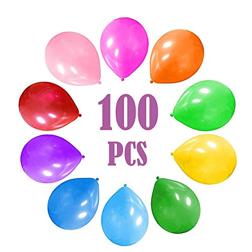 Party Surplies Favors for Kids, Party Balloons 10 Inches Rainbow Set (100 Pack) Assorted Colored Party Balloons Bulk Carnival Prizes Box for Kids Bulk for Birthday Wedding Celebration