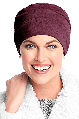 Headcovers Unlimited Three Seam Cotton Sleep Cap-Caps for Women with Chemo Cancer Hair Loss Raisin
