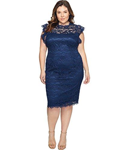 恐怖症確実醸造所[アドリアナパペル] Adrianna Papell レディース Plus Size Mock Neck Ruffled Sleeve Lace Sheath Dress ドレス Night Navy 22W [並行輸入品]