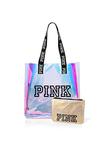 VICTORIA SECRET - RARE - PINK TOTE IRRIDESCENT SET WITH SMALL COSMETIC BAG BEACH BAG