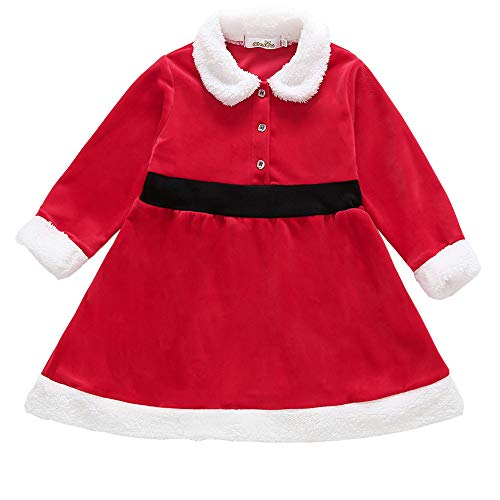 Kid Toddler Baby Girl Christmas Dress Santa Claus Clothes Long Sleeve VelvetRuffle Costume (Red, 4-5 Years) ()