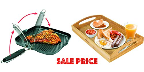 Mix & Match 10-Inch Square Grill Pan with Foldable Handle & Bamboo Butler Serving Tray With Handles