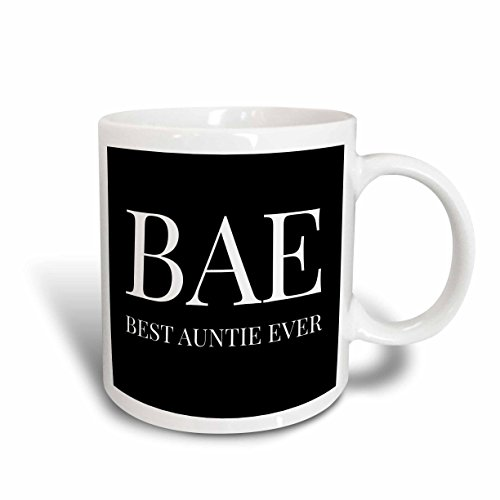 3dRose 245026_6 Bae, Best Auntie Ever, White Letters On A Black Background Mug, 11 oz, Blue