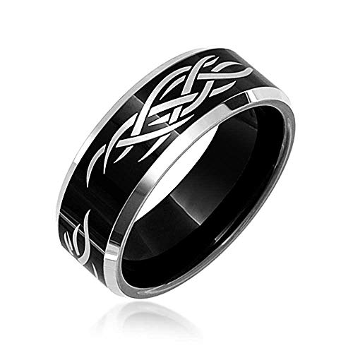 - Bling Jewelry Mens Laser Etched Tribal Design Black Tungsten Carbide Ring 8mm ( Size 11)