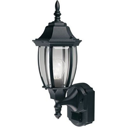 Heath Zenith HZ-4192-BK Six-Sided Die-Cast Aluminum Lantern, Black with Beveled Glass ()