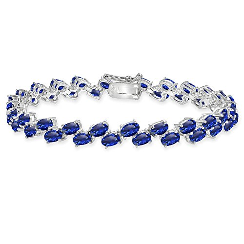 Sterling Silver Created Blue Sapphire 5x3mm Oval Wave Tennis Bracelet
