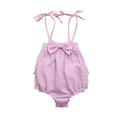 Goodlock Girls Romper, Newborn Baby Girls Striped Seersucker Bubble Straps Ruffle Layers Bowknot Romper (Pink, Size:12M) -