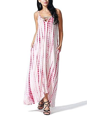 JayJay Women Elegant Fashion Style Tie Dye Sleeveless Long Maxi Dress,RED,L - Matte Jersey Surplice