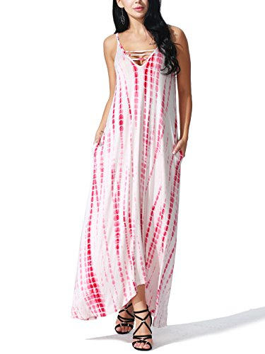 JayJay Women Fall Season Sleeveless Tie Dye Maxi Long Dress With Pocket,RED,M by JayJay Company