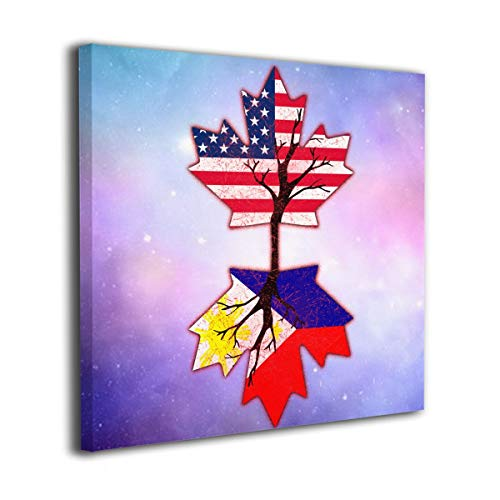 Houstonman American Grown with Filipino Roots Philippines Canvas Wall Art Home Decorations Modern Gallery Wrapped Abstract Artwork for Living Room Bedroom Bathroom 16