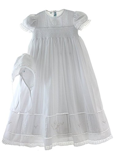 (Girls White Smocked Christening Baptism Gown Bonnet Set with Pearls (9-12M) )
