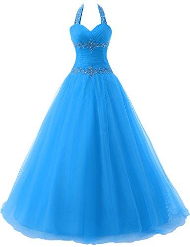 JAEDEN Mujer Cabestro Vestidos de baile Largo Tul Vestido De Quincea?era Azul