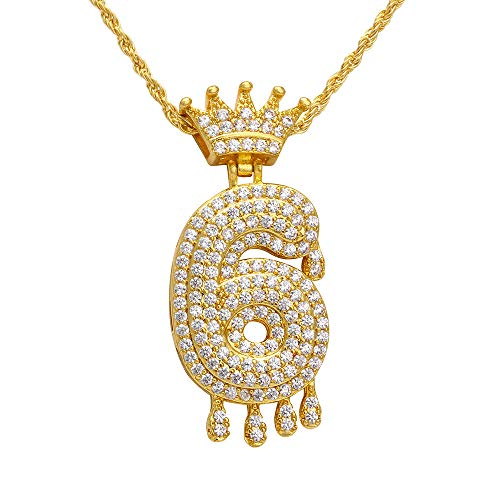 Gbell  Luxury Zircon Drops Crown Alpha Pendant Necklace Men and Women Emperor Royal Crown King Queens Pendant Necklace Creative Gift Jewelry for Mother Women Lady