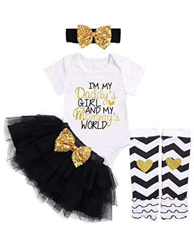 (Baby Girl Clothes Letter Print Romper Sequin Tutu Dress Tulle Skirt with Headband Legging 4PC Outfit Set 3-6Months White)