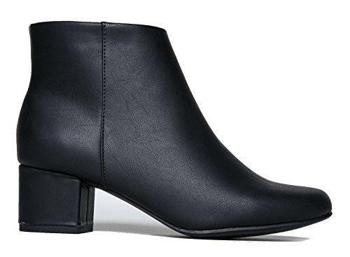 J. Adams Low Heel Ankle Boot - Casual Zip Up Bootie - Comfortable Everyday Round Toe Bootie - Jody by Black Pu*** dVrFMD