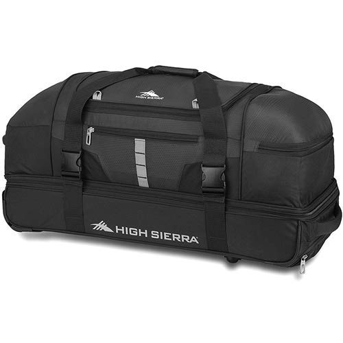 - High Sierra Evolution Drop Bottom Wheeled Duffel Bag, Black/Ash, 30