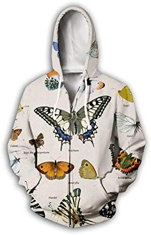 ユニセックスパーカーファスナー付き男性女性3Dさまざまな蝶プリントプルオーバー長袖カーディガンカップルスウェットユニフォームジャンパー屋外
