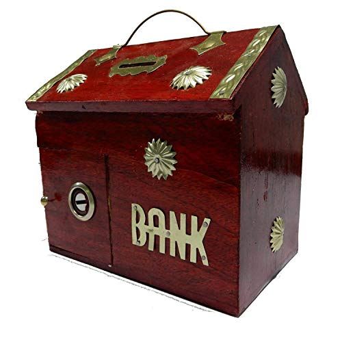 Bignay Wooden Handicrafted Money Bank - Large Piggy Bank - Decorative Home Decor - Hut Shape With Brass Inlay Flower Design, Coin Box for Kids & Adult Gifts