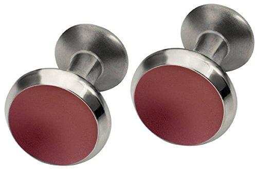 Ti2 Titanium Mens Round Concave Cufflinks - Coffee Brown (Cufflinks Titanium Brown)