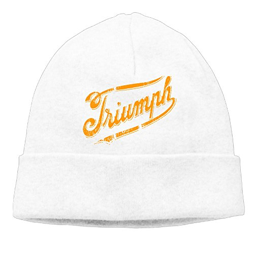 (Adult Triumph Modern Logo Beanies New Wool Caps Hats Adjustable White)
