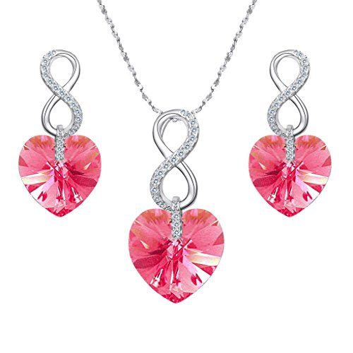 EVER FAITH 925 Sterling Silver CZ Infinity Heart Jewelry Set Pink Adorned with Swarovski Crystals