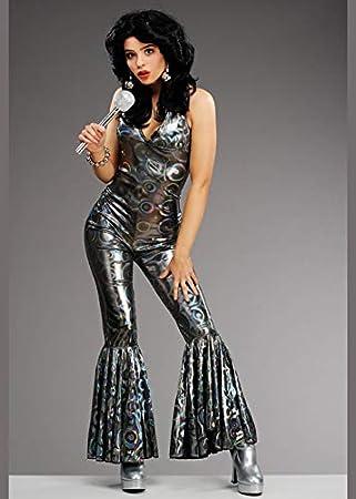 Magic Box Disfraz de Traje Plateado de Diva de 1970 para Mujer ...
