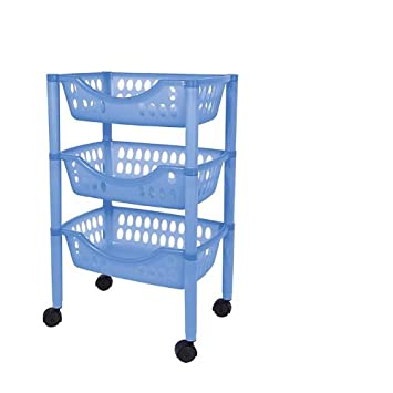 Juypal 185 - Carro verdulero multiusos, de 3 pisos, 66.5 x 39.3 x 26.5 cm, color azul: Amazon.es: Hogar