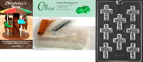 Cybrtrayd Small Cross with Swirl Chocolate Candy Mold with Chocolatier's Bundle, Includes 50 Cello Bags, 50 Gold/Silver Twist Ties and Chocolatier's Guide - Religious Molds Candy