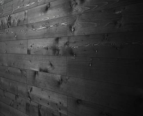 WoodyWalls Peel and Stick Wood Panels. (19.5 sq. ft. per Box) Charcoal (Black)