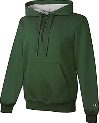 Champion Cotton Max 1/4 Zip Hood_Team Dark Green_X-Small
