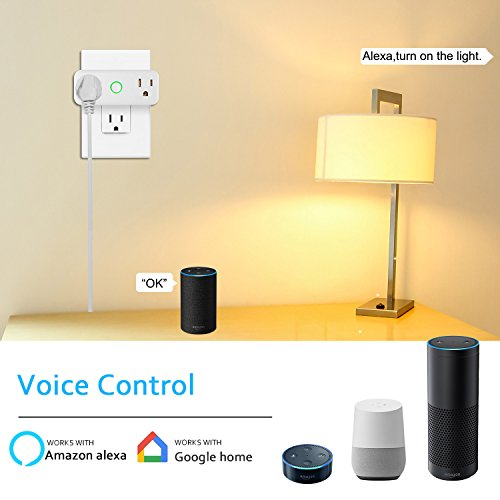 NEXGADGET 10A/1200W Wi-Fi Smart Plug, Dual Outlet Mini Socket with Separated Remote Control,Timing Switch with Energy Monitoring-Works with Alexa and Google Home,No Hub Required-2Pack by NEXGADGET (Image #2)