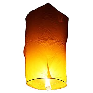 Tenozek (10pcs) Chinese Sky Kongming Lanterns Fire Fly Candle Lamp For Wish Party Wedding (US stock) (10pc-Yellow)