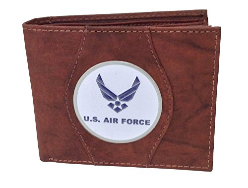 - U.S. Air Force Wing Genuine Leather Wallet Red Brown