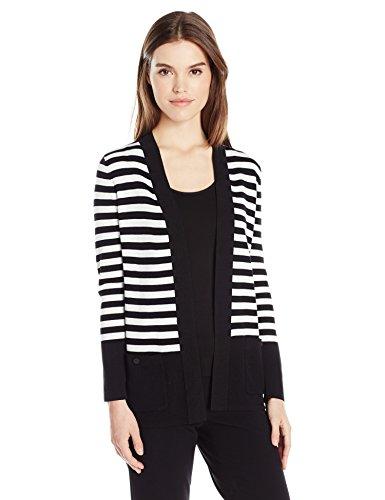 Anne Klein Women's Striped Malibu Cardigan, Black/White, L (Striped Cardigans For Women)