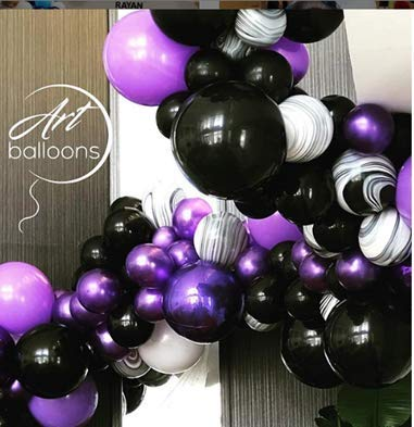 Balloon Hotel - PartyWoo Black and Purple Balloons 40 Pcs 12 Inch Purple Balloons Black Balloons Black Marble Balloons for Vampirina Party, Hotel Transylvania Party, Descendants Party, Black Purple Wedding Party