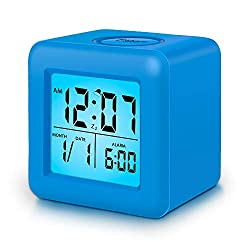 Clocks for Kids,Digital Alarm Clocks,12/24 Hours,Large Numbers LED Display with Nightlight, Alarm, Snooze,Calendar for Children's Bedrooms,Blue Clocks