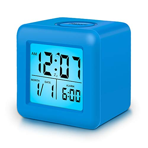 Clocks for Kids,Digital Alarm Clocks,12/24 Hours,Large Numbers LED Display with Nightlight, Alarm, Snooze,Calendar for Childrens Bedrooms,Blue Clocks