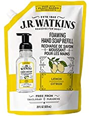 J.R. Watkins Lemon Foaming Hand Soap Refill Pouch, Scented Foam Handsoap for Bathroom orKitchen, USA Made and Cruelty Free, 828 Milliliters