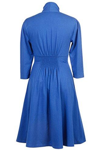 eShakti Women's Bib front cotton jersey knit dress 4X-28W Short Royal blue